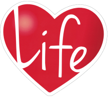 "Life Heart - Small Bumper Sticker / Decal (4"" X 3.75"")"