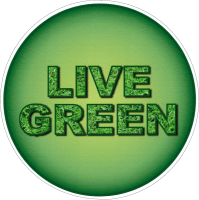 "Live Green  - Small Bumper Sticker / Decal (3.5"" Circular)"
