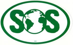 """SOS Earth - Small Bumper Sticker / Decal (5"""" X 3"""")"""