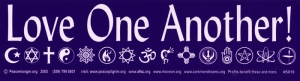 """Love One Another - Bumper Sticker / Decal (11"""" X 3"""")"""