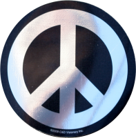 "Chrome and Black Peace Sign - Bumper Sticker / Decal (4"" X 4"")"