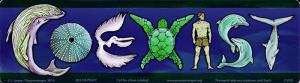"Coexist Sea Life - Bumper Sticker / Decal (10.5"" X 3"")"