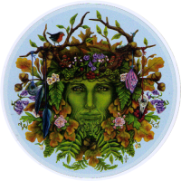 "Seasons Green Man - Bumper Sticker / Decal (4.5"" Circular)"