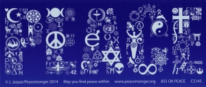 "Peace Word in Symbols - Bumper Sticker / Decal (7.75"" X 3.5"")"