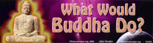 "What Would Buddha Do? - Bumper Sticker / Decal (10.25"" X 3"")"
