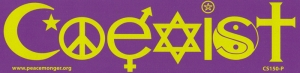 "Coexist - Bumper Sticker / Decal (8"" X 2"")"