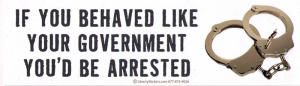 If You Behaved Like Your Government You'd Be Arrested - Bumper Sticker / Decal (