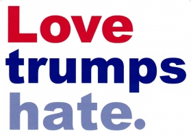 "Love Trumps Hate - Bumper Sticker / Decal (5.25"" X 3.75"")"