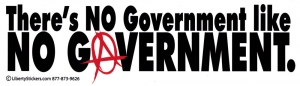 "There's No Government Like No Government - Bumper Sticker / Decal (10.5"" X 3"")"