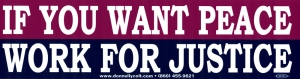 "If You Want Peace, Work for Justice - Bumper Sticker / Decal (11.5"" X 3"")"