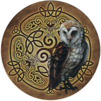 "Celtic Owl - Bumper Sticker / Decal (4.5"" Circular)"