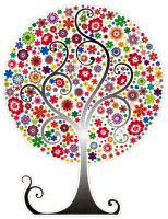 "Flower Tree - Bumper Sticker / Decal (3.75"" X 5"")"