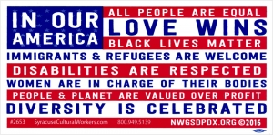 """In Our America... - Bumper Sticker / Decal (7.75"""" X 3.75"""")"""