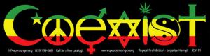 "Rasta Colors Coexist - Bumper Sticker / Decal (10.5"" X 3"")"