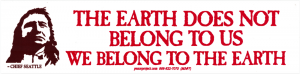 The Earth Does Not Belong To Us, We Belong to the Earth - Small Bumper Sticker
