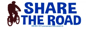 "Share The Road - Small Bumper Sticker / Decal (5.25"" X 1.75"")"
