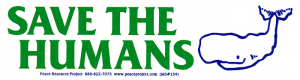 """Save the Humans - Small Bumper Sticker / Decal (6.5"""" X 1.75"""")"""