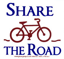 "MS166 - Share the Road - Small Bumper Sticker / Decal (3"" X 3"")"
