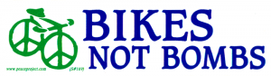 "Bikes Not Bombs - Small Bumper Sticker / Decal (6"" X 1.75"")"