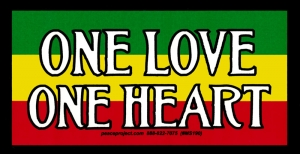 """One Love One Heart - Small Bumper Sticker / Decal (4.5"""" X 2.25"""")"""