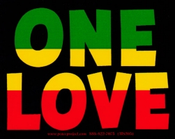 "One Love - Small Bumper Sticker / Decal (4"" X 3"")"