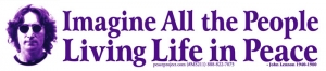 Imagine All The People Living Life In Peace -John Lennon - Small Sticker / Decal
