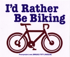 "I'd Rather Be Biking - Small Bumper Sticker / Decal (4.75"" X 3"")"