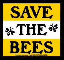"Save the Bees - Small Bumper Sticker / Decal (3.25"" X 3"")"
