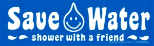 "Save Water, Shower With a Friend - Small Bumper Sticker / Decal (5.5"" X 1.75"")"