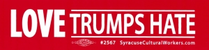 "Love Trumps Hate - Small Bumper Sticker / Decal (6"" X 1.5"")"