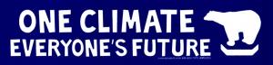 "One Climate, Everyone's Future - Small Bumper Sticker / Decal (7"" X 1.75"")"