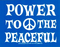 "Power To The Peaceful - Small Bumper Sticker / Decal (3.5"" X 2.75"")"