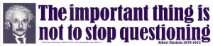 S311 - The Important Thing Is To Not Stop Questioning - Bumper Sticker