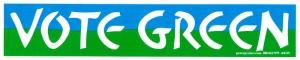 "S337 - Vote Green - Bumper Sticker / Decal (10.75"" X 2.25"")"