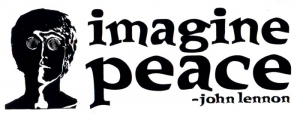 "S342 - Imagine Peace - Bumper Sticker / Decal (7.5"" X 2.75"")"
