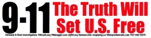 "9-11 The Truth Will Set Us Free - Bumper Sticker / Decal (8.75 X 2.25"")"