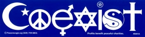 "Coexist - Bumper Sticker / Decal (11.5"" X 3"")"
