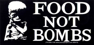 "Food Not Bombs -  Bumper Sticker / Decal (6.25"" X 3"")"
