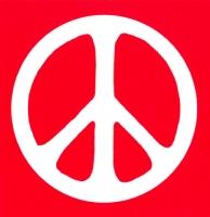 Peace Sign - White over Red - Bumper Sticker