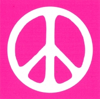 S514 - Peace Sign - White over Pink - Bumper Sticker