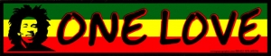"One Love - Bumper Sticker / Decal (9.25"" X 2"")"