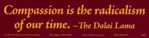 Compassion is the radicalism of our time. - The Dalai Lama - Bumper Sticker