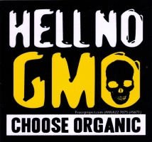"Hell No GMO - Choose Organic - Bumper Sticker / Decal (4"" X 4.75"")"