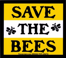 "Save the Bees - Bumper Sticker / Decal (4"" X 3.5"")"
