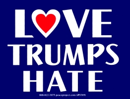 "Love Trumps Hate - Bumper Sticker / Decal (4.5"" X 3.5"")"