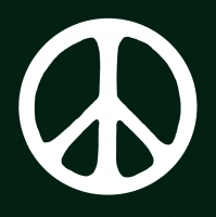 "Peace Sign (White on Dark Green) - Bumper Sticker / Decal (4.25"" X 4.25"")"
