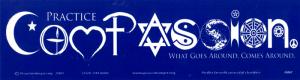 "Practice Compassion - Bumper Sticker / Decal (11"" X 3"")"