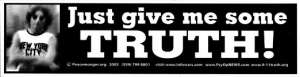 "Just Give Me Some Truth - John Lennon - Bumper Sticker / Decal (11.5"" x 3"")"