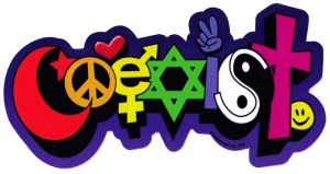 "Happy Coexist - Bumper Sticker / Decal (7.25"" X 4"")"