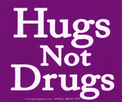 "Hugs Not Drugs - Bumper Sticker / Decal (4.5"" X 3.75"")"